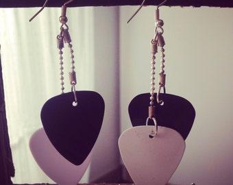 Black and White Guitar Pick Earrings