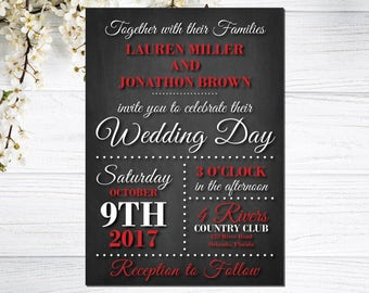 Red and Black wedding invitations, chalkboard wedding invites, printable wedding invitations, instant download