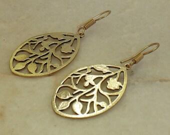 Gold plated earrings | Brass earrings | Drop earring | Indian fashion gift earring | Bronze earring | Leaf earring | New year earring | E62