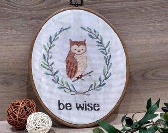 Be wise Owl cross stitch pattern owl Baby cross stitch pattern Baby Animal cross stitch pattern Animal cross stitch owl Cross stitch baby