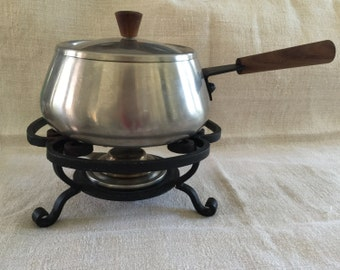 1960s Fondue Set with Cast Iron Stand