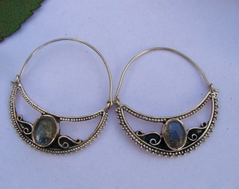 Silver Hoops, Pure 925 Sterling Silver Hoops, Labradorite Gemstone Hoops, Labradorite Hoops, Labradorite Jewelry, Silver Jewelry