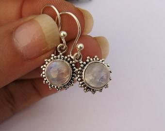Moonstone Earrings, Moonstone Gemstone Earrings, Moonstone Jewelry, Natural Moonstone Earrings, Small Earrings, Sterling Silver Earrings.
