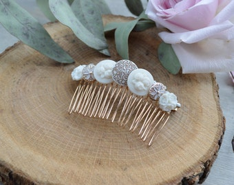 Vintage Bridal Hair Comb Gold and Ivory / Prom / Gift For Her / Bridesmaids
