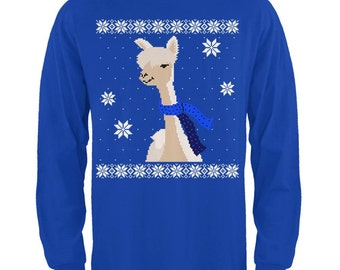 Big Alpaca Scarf Ugly Christmas Sweater Mens Long Sleeve T Shirt Royal