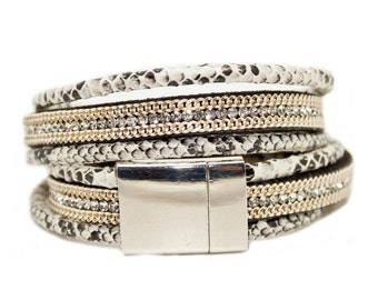 Cream Snakeskin print Rhinestone Double Wrap Cuff - 3 strands on vegan leather with magnetic clasp finish