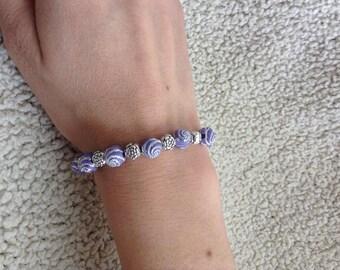 Purple & Silver beaded bracelet