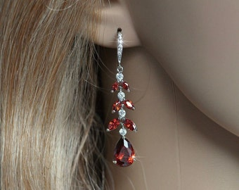Handmade Fancy Cut Red Garnet and White Topaz Waterfall Dangle Bridal Earrings, Bridal, Wedding (Sparkle-2261)