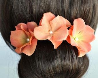 Set of 3 Handmade Coral Hydrangea Flower Hair or Bobby Pins, Bridal, Wedding (Pearl-395)
