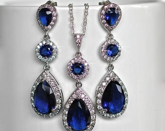 Sapphire Blue Cubic Zirconia CZ Bridal Necklace and Earring Set, Bridal, Wedding (Sparkle-2059)