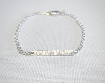 Ripple Bracelet - Sterling Silver - Hammered Bracelet - Delicate Bracelet - Bar Bracelet - Beach Inspired Jewelry