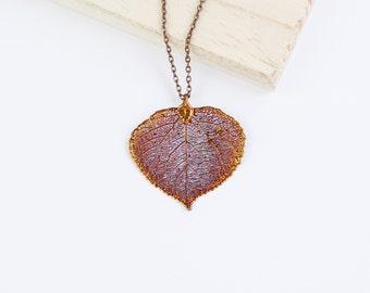 Aspen, Genuine Leaf Necklace, Leaf Pendant, Silver Leaf, Rose Gold Leaf, Copper Leaf, Yellow Gold Leaf, Choose Your Finish, Aspen Leaf