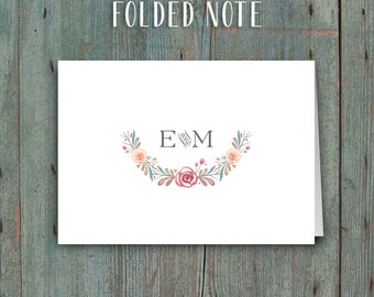 Printable Thank You Cards or Folded Notes • Sweet Watercolor Floral