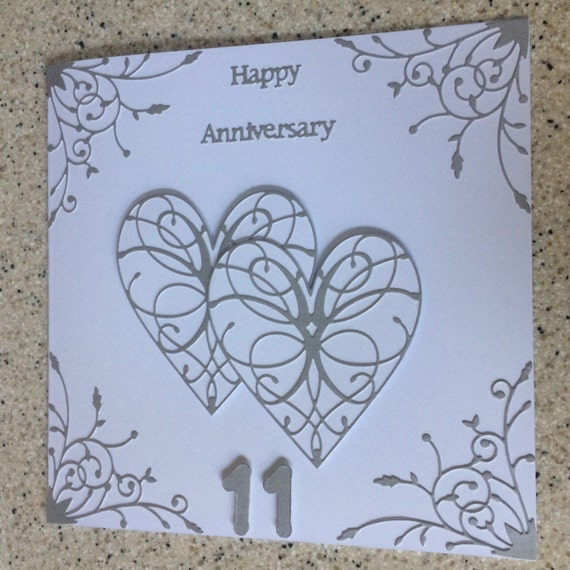 Handmade Steel Wedding Anniversary Card 11th Happy Wedding