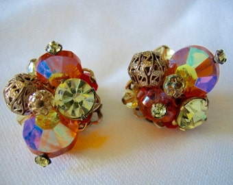 Vintage Alice Caviness Crystal Earrings Clip on