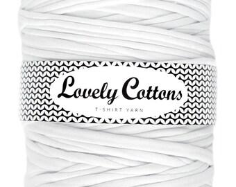 White T-shirt yarn, recycled cotton trapillo 131yd (120m) yarn for knittig, crocheting
