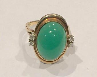 Jade and 14K Gold Custom Made Ring