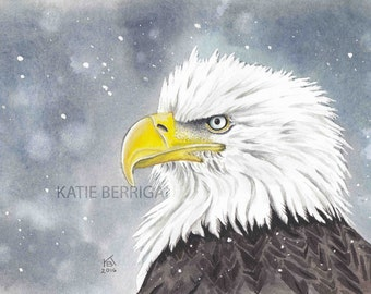Eagle archival print, watercolor Eagle, original artwork printed on watercolor paper, painting print, artist hand signed bird print