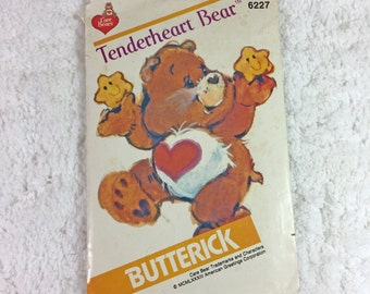 Butterick 6227 Vintage Sewing Pattern Care Bear Tenderheart Bear / 1980s / out of print / 17 inches / children's toy / stuffed bear pattern