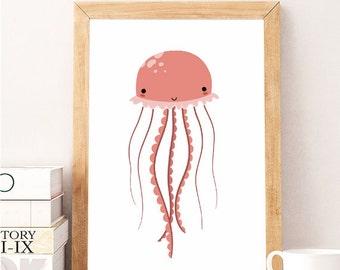 SALE Jellyfish Art, Seaside Home Decor, Jelly Fish Print, Sea Animal,Nautical Baby, Ocean Artwork, Marine Print, Modern Nursery Wall Art B