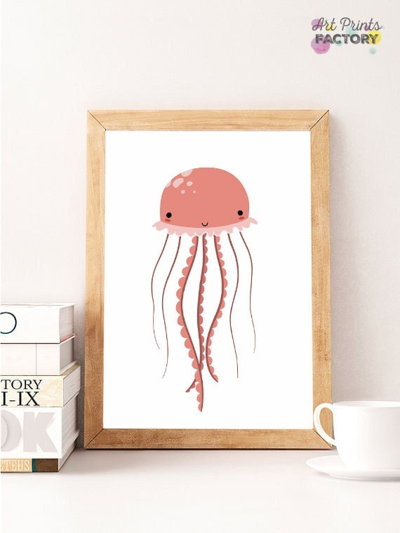 sale jellyfish art seaside home decor jelly fish print sea jellyfish crochet jellyfish home decor sea animals