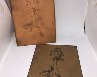 RUSTIC Handmade ROSE Blank Card with envelopes x 6 pack