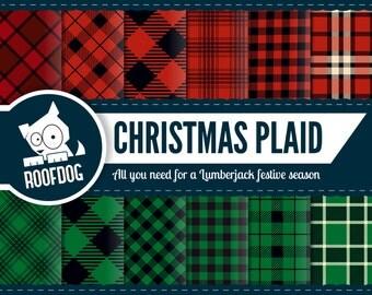 Buffalo plaid christmas digital paper | lumberjack christmas | red and green plaid digital paper pack instant download | christmas tartan