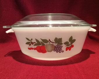 Phoenix Opalware Casserole Dish 1.5 pint with Grapes Apples Strawberries Oranges Sherries Pattern