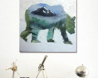 Bear& the wild – acrylic painting on oil layer, power, wild, freedom, original painting, one-of-a-kind