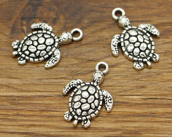 20pcs Sea Turtle Baby Turtle Charms Antique Silver Tone 16x23mm cf2518