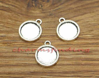 30pcs Round Pendant Trays Bezel Settings Antique Silver Tone 15x18mm holds 11x11mm cabochon cf3198