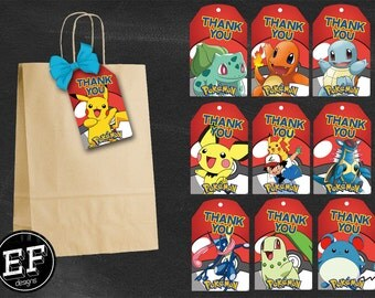 20 Pokemon Thank You Tags, Pokemon Birthday Favor Tags, Pokemon Party Tags, Pikachu Favor Tag, Pokemon GO Thank You Printables, Game Labels