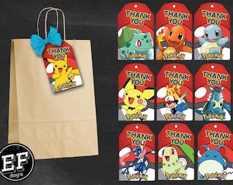 20 Pokemon Thank You Tags, Pokemon Birthday Favor Tags, Pokemon Party Tags, Pikachu Favor Tag, Pokemon GO Thank You Printables, Game Labels
