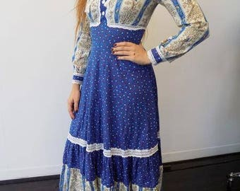 Vintage Cobalt Blue Floral Gunne Sax Prairie dress