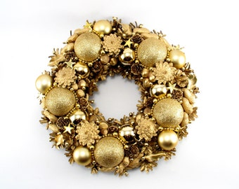 Christmas Wreath, Gold Wreath, Ornament Wreath, Pinecone Wreath, Holiday Wreath, Front Door Wreath, Unique, Hand Made Christmas Wreath,