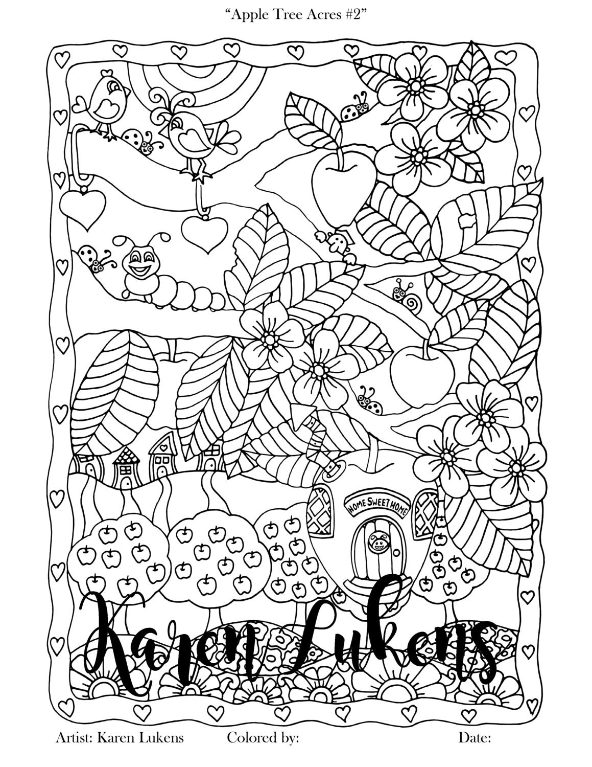Coloring book page apple tree - Apple Tree Acres 2 1 Adult Coloring Book Page Printable Instant Download