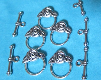 Toggle clasp / ring and Rose flower Silver Stick