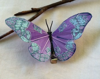 Turquoise/purple/blue sparkly butterfly hair clip