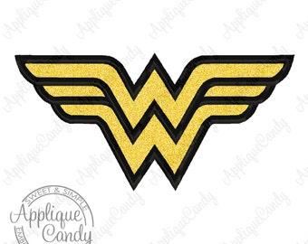 Super Wonder Hero Woman Applique Machine Embroidery Design Digital Font 3x3 4x4 5x5 5x7 6x10 WW INSTANT DOWNLOAD