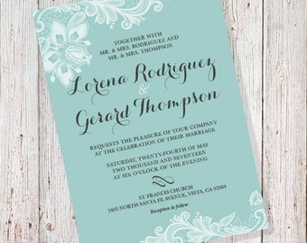 Nice Wedding Invitation   Tiffany Mint Blue (DIGITAL FILE)
