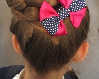 Navy / Pink polka dot bow, school bow, spotty bow, Childrens hair accessories, girls hair hair bow, hair accessory, hair piece, hairclip