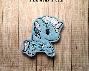 Snowflake Unicorn Feltie Embroidery Design