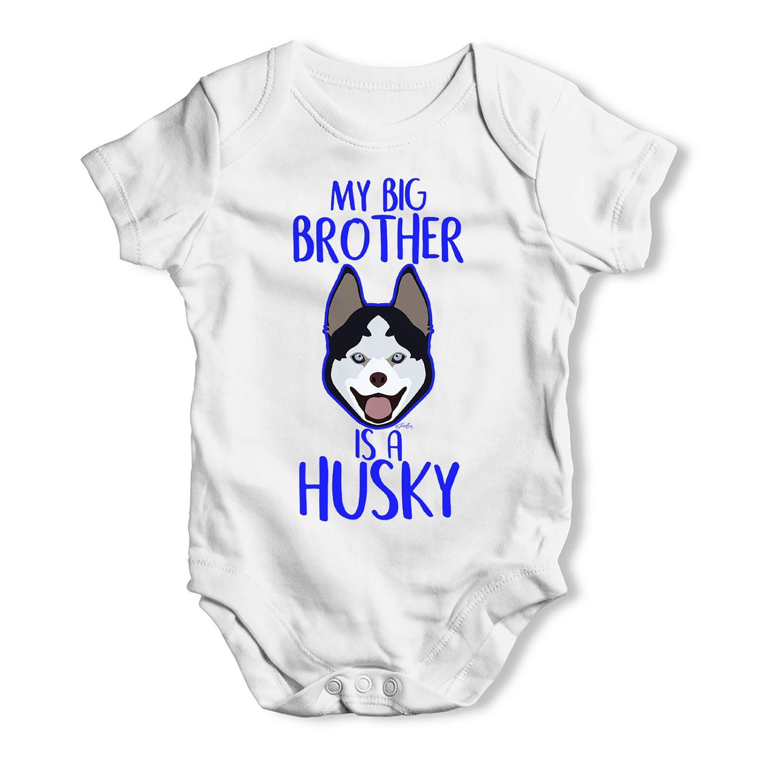 Personalised My Sibling Is A Husky Baby Uni Baby Grow