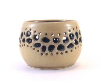 Patio Lantern  Tealight or  votive candle Patio Decor   Ceramic Luminary Pottery tealight  Candle holder