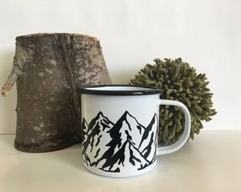 Custom Enamelware Mug -White Enamel Mug - Hand Painted - Custom Request