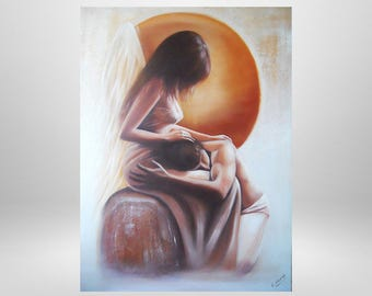 Security, Angel, oil painting, woman, man, figurative art, art print on canvas, love, romance, painting, mystical, prints