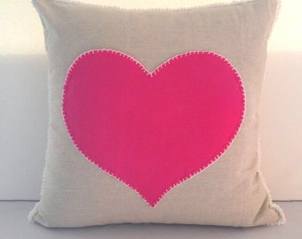 Pink Heart Pocket Pillow Cover