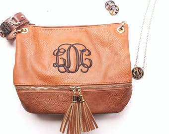 Monogrammed 2 toned zippered tassel Cross body - Camel-Personalized purse