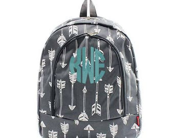 Personalized Arrows backpack in Gray Grey