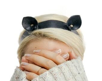 Kitten ears headband / Kitten ears / Cat ears headband / Black cat ears / kawaii headband / leather headband / leather tie back headband